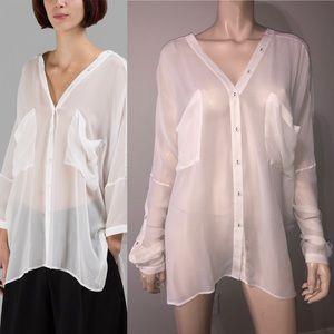Isabel Benenato White Silk Button Shirt 40